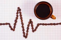 Kardiogramlinje av det kaffekorn- och kopp kaffe-, medicin- och sjukvårdbegreppet Fotografering för Bildbyråer