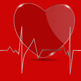 Kardiogramm mit Herzen. Vektorillustration. Lizenzfreies Stockbild