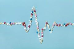 Kardiogrammet göras av färgrika drogpreventivpillerar, läkemedel och kardiologibegrepp Arkivfoto