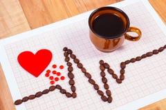 Kardiogrammlinie von Kaffeebohnen, Tasse Kaffee- und Ergänzungspillen, Medizin und Gesundheitswesenkonzept Stockfotografie