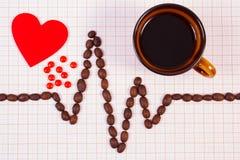 Kardiogrammlinie von Kaffeebohnen, Tasse Kaffee- und Ergänzungspillen, Medizin und Gesundheitswesenkonzept Stockbild
