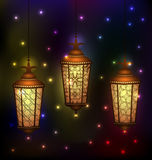 Установленные арабские лампы на святой месяц мусульманской общины Рамазана Kare Стоковая Фотография