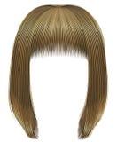 Kare na moda do prumo dos cabelos da mulher com franja cores louras claras comprimento médio Estilo da beleza Imagens de Stock Royalty Free