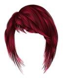 kare na moda dos cabelos da mulher com franja meio l das cores vermelhas Imagens de Stock