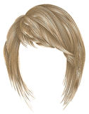 Kare na moda dos cabelos louros da mulher com franja estilo louro da beleza Fotografia de Stock Royalty Free
