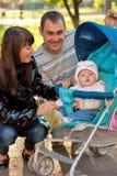 kareciany rodzinny szczęśliwy plenerowy Obrazy Stock