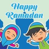 Kareem Рамазана/mubarak, счастливый дизайн приветствию ramadan для мусульман святого месяца, иллюстрации вектора Стоковое Изображение