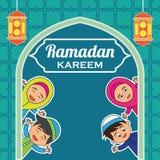 Kareem Рамазана/mubarak, счастливый дизайн приветствию ramadan для мусульман святого месяца, иллюстрации вектора Стоковые Фото