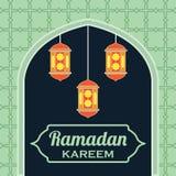 Kareem Рамазана/mubarak, счастливый дизайн приветствию ramadan для мусульман святого месяца, иллюстрации вектора Стоковая Фотография RF