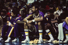 Kareem Abdul Jabbar on the Lakers Bench. Stock Photography