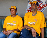 Kareem Abdul-Jabbar and Smokey Robinson Stock Photos