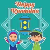 Kareem da ramadã/Mubarak, projeto feliz do cumprimento de ramadan para muçulmanos mês santamente, ilustração do vetor Fotos de Stock