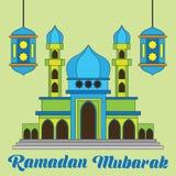 Kareem da ramadã/Mubarak, projeto feliz do cumprimento de ramadan para muçulmanos mês santamente, ilustração do vetor Imagens de Stock
