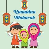Kareem da ramadã/Mubarak, projeto feliz do cumprimento de ramadan para muçulmanos mês santamente, ilustração do vetor Imagem de Stock