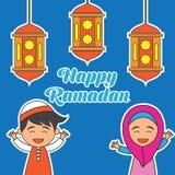 Kareem del Ramadán/Mubarak, diseño feliz del saludo del Ramadán para los musulmanes mes santo, ejemplo del vector Imagen de archivo