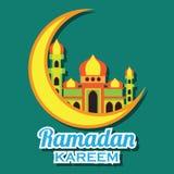 Kareem del Ramadán/Mubarak, diseño feliz del saludo del Ramadán para los musulmanes mes santo, ejemplo del vector Fotos de archivo libres de regalías