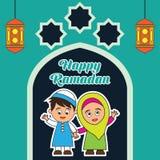 Kareem del Ramadán/Mubarak, diseño feliz del saludo del Ramadán para los musulmanes mes santo, ejemplo del vector Imágenes de archivo libres de regalías