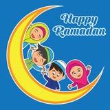 Kareem del Ramadán/Mubarak, diseño feliz del saludo del Ramadán para los musulmanes mes santo, ejemplo del vector Imagen de archivo libre de regalías