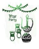 Kareem disegnato a mano del Ramadan, partito iftar, lustro verde Fotografia Stock