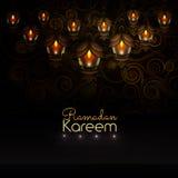 kareem ramadan Belles lanternes sur le fond modelé Illustration Stock