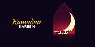 kareem ramadan Ramadan Mubarak Carte de voeux Mille et une nuits avec le croissant de lune et les chameaux Images libres de droits