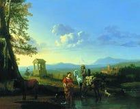 Karel Du Jardin - paysage d'Italianate avec des paysans et des animaux sur une route inondée et des paysans priant à un tombeau d photos stock
