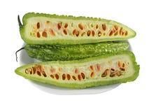 Karela (gorzki melon) na talerzu Obraz Royalty Free