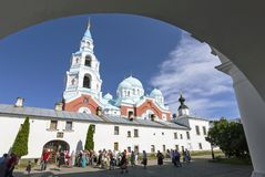 Tourists at the entrance to the Transfiguration Valaam monastery.
