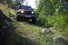 Karelia, Russia, August 18, 2015: Journey to the Jeep Wrangler unlimited Sahara for Karelia. Wrangler is a compact four wheel driv Royalty Free Stock Photo