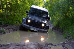 Karelia, Russia, August 18, 2015: Journey to the Jeep Wrangler unlimited Sahara for Karelia. Wrangler is a compact four wheel driv Royalty Free Stock Images