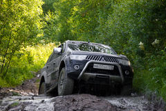 Karelia, Russia, August 18, 2015: off-road expedition for Mitsubishi Pajero Sport in Karelia. Mitsubishi Pajero Sport is a compact Stock Photos