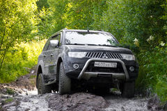 Karelia, Russia, August 18, 2015: off-road expedition for Mitsubishi Pajero Sport in Karelia. Mitsubishi Pajero Sport is a compact Royalty Free Stock Image