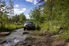 Karelia, Russia, August 18, 2015: off-road expedition for Mitsubishi Pajero Sport in Karelia. Mitsubishi Pajero Sport is a compact Stock Photography