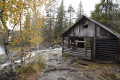 Karelia, wooden abandoned house near the river in autumn Royalty Free Stock Photography