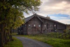 Karelian hus på ön av Kizhi royaltyfri foto
