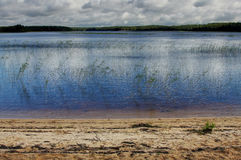 Karelian lake landscape background with sand and forest Royalty Free Stock Photography