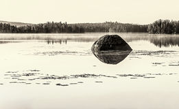 Karelian landscape with a lake in sepia Stock Photography