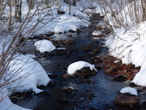 Karelian spring. The Karelian streamlet in the early spring stock images