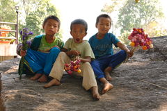 Karen Children. Karen minority children, Doi Inthanon Mountain, North of Thailand Stock Photos