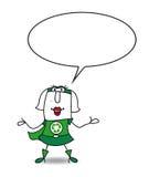 Karen de super recyclerende vrouw spreekt vector illustratie