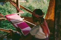 Karen Hill Tribe girl Weaving Stock Photo