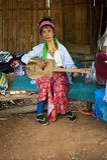 Karen Long Neck woman with brass coils. Thailand Royalty Free Stock Photos