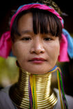 Karen long necked tribe woman poses for photo in hills near Chiang Mai, Thailand Royalty Free Stock Photo