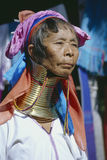 Myanmar, portrait of a Kayan long neck woman with neck rings. Portrait of Red Karen Kayan Lahwi tribe woman with long neck ornament in Myanmar Royalty Free Stock Photography
