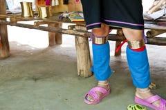 Karen People Village in Changmai Thailand. Leg ornaments of Karen People in Changmai Thailand royalty free stock photography