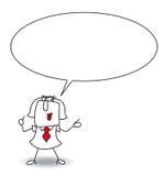 Karen is speaking. Write your message in the bubble speech vector illustration