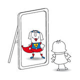 Karen super girl in the mirror. Karen looks in the mirror. She sees a super woman in the reflection. It's a metaphor of the power which is in each person stock illustration