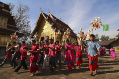 Karen tribes in ceremony at  temple Royalty Free Stock Image
