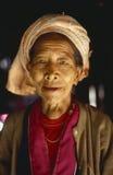 Inle Lake, Mayanmar, local Karen woman in traditional clothes. Portrait of a Karen Woman at Inle Lake, Myanmar Royalty Free Stock Photos