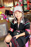A Karen Woman. Selling tribal crafts in Chiang Mai Thailand Royalty Free Stock Images